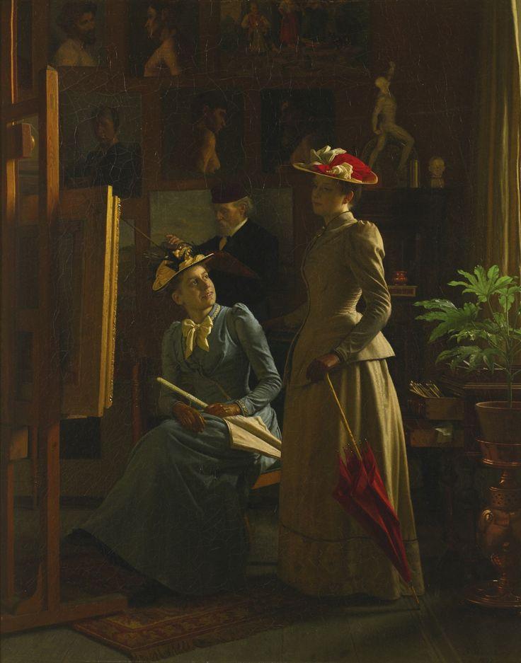 В мастерской художника (1892). Фредерик Морские Песни (Датские, 1823-1910). Холст, масло.Возможно, сюжет картины принесла ее подруга, чтобы посмотреть и оценить художника прогресса. А дама сидит имеет улыбку на ее лице, ее спутником может быть более критический взгляд. На спине, художник, показывая усмотрению, занимается рутинной работой с его кисти и мольберт.