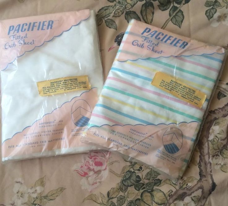 Vintage Baby Crib Sheets, Pair Fitted Cotton White & Striped Nursery Decor NOS | Collectibles, Linens & Textiles (1930-Now), Bed & Bath Linens | eBay!