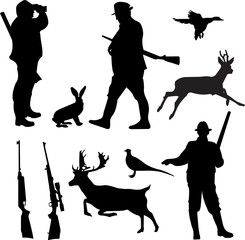 Vector: hunting collection silhouettes - vector