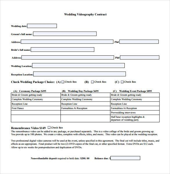 Videography Contract Template Free Unique Videography Contract Template 9 Download Free Documents In 2020 Contract Template Videography Photographers Contract