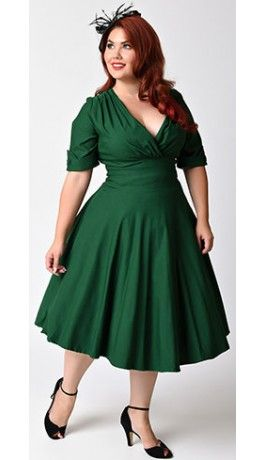 Unique Vintage Plus Size 1950s Style Emerald Green Delores Swing Dress