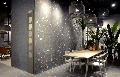 Carrelage Imitation Granito Terrazzo 80x80 Cm Stracciatella Graphite
