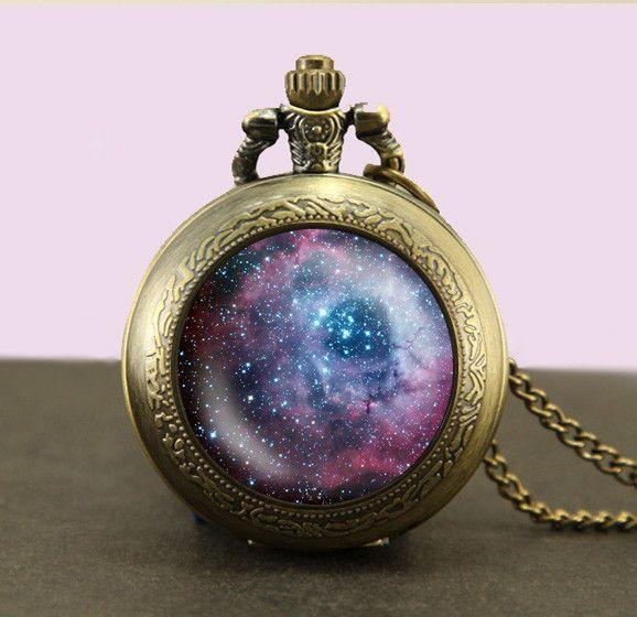 Carina Nebula Locket necklace,Galaxy Necklace,universe fob watch locket necklace