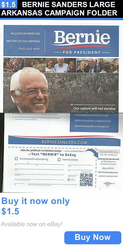 Bernie Sanders: Bernie Sanders Large Arkansas Campaign Folder BUY IT NOW ONLY: $1.5
