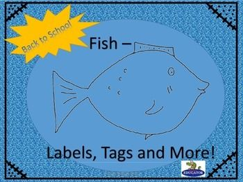 Back to School Labels and Tags - Fish Theme.. Fun printable labels and tags for your classroom with a fish or ocean theme.  Includes:Beginning of the year activity and bulletin board - five different fish coloring sheets for students to color and decorate for a special bulletin board - We May Be Different Fish, But We All Swim Together.