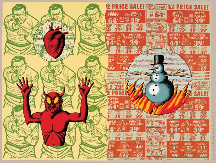 David Wojnarowicz (American, 1954-1992), Fire and Water. Ten-color lithograph, 22 ¾ x 30 in