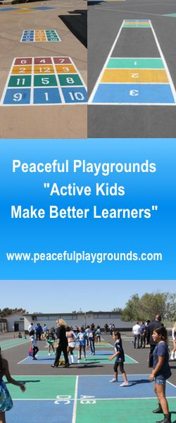 Peaceful Playgrounds markings at SDUSD at Nye Elementary, San Diego.