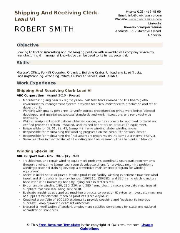 Pin On Example Shipping And Receiving Resume Samples