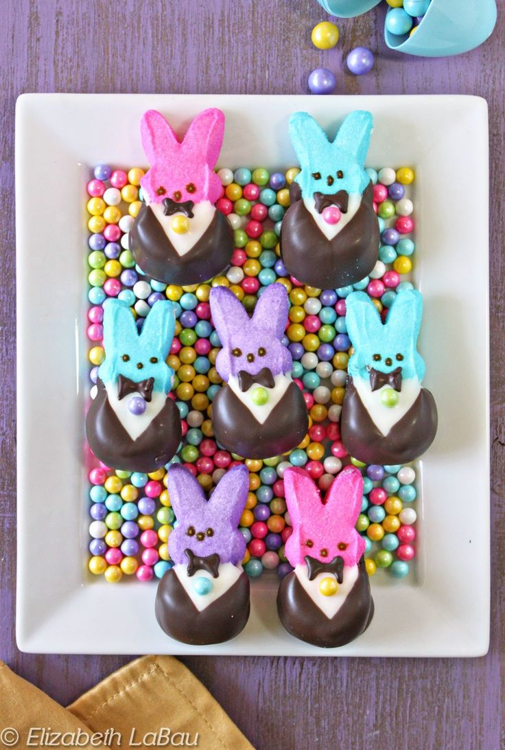 Tuxedo Bunny Peeps - such a cute and easy way to make Peeps a little fancier! | from candy.about.com