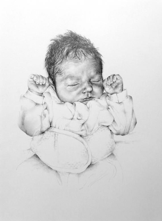 Personalised Baby Portrait Drawing, Pencil Drawing from ...