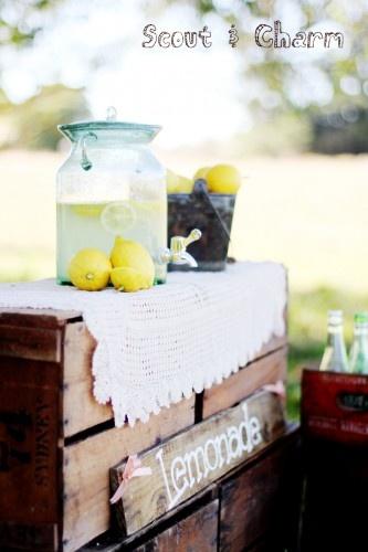 Lemonade Stand. Styling by Scout & Charm #lemonade #drinks #wedding