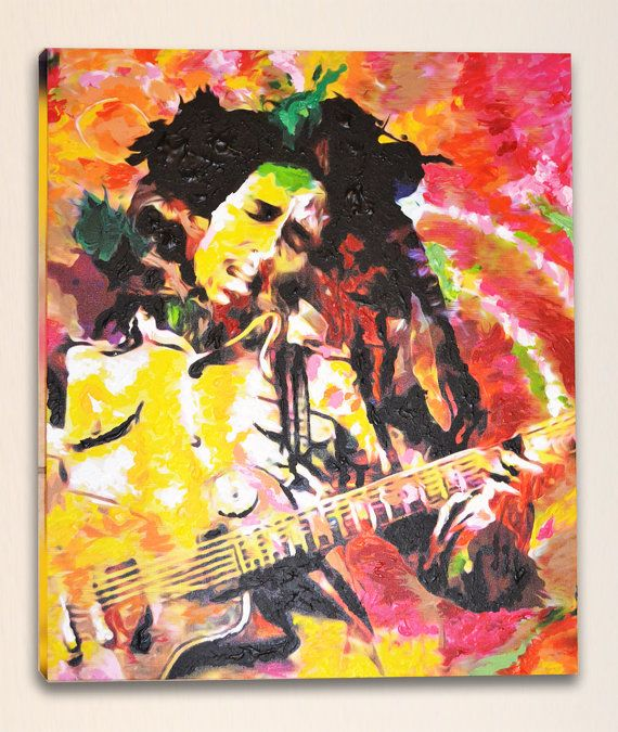 Bob marley original painting canvas painting by for Bob marley mural