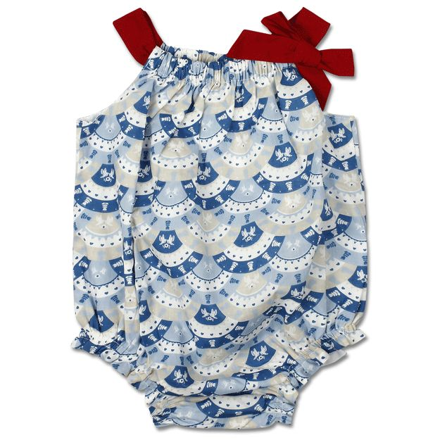 Bubs will look too cute in this cotton poplin romper!