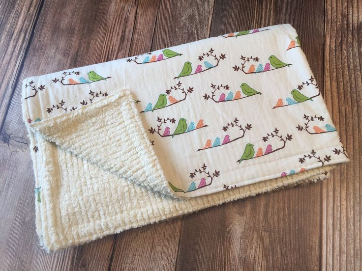 SALE! Ready to Ship! Spring Bird Baby Blanket, Baby Toddler Blanket, Baby Girl Blanket, Baby Stroller Blanket, Chenille Baby Blanket, by roundthebendagain on Etsy https://www.etsy.com/listing/511804817/sale-ready-to-ship-spring-bird-baby
