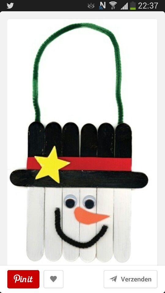 Sneeuwpop van lollystokjes