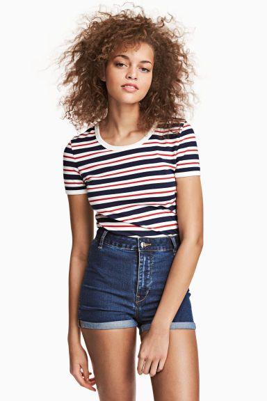 Dżersejowy T-shirt z bawełny - Ciemnoniebieski/Kolorowe paski - ONA | H&M PL 1