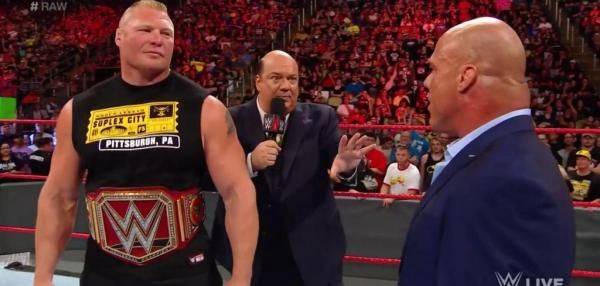 WWE Universal Champion Brock Lesnar returned to Raw Monday alongside his advocate Paul Heyman to confront general manager Kurt Angle.