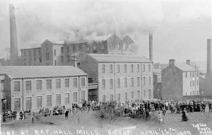 Fire at Bay Hall Mills, Birkby, 1909. Source: Kirklees Image Archive