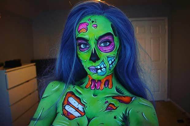 AMAZING Comic Inspired Bright Green Zombie Halloween Makeup 25 Mind-Blowing Makeup Ideas to Try for Halloween