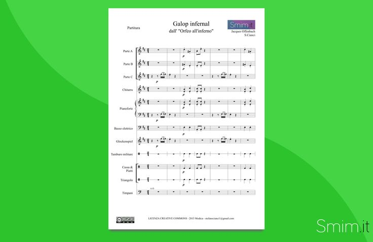 Can Can, Galop Infernal (Offenbach) - Partitura gratis per orchestra di Scuola Media ad Indirizzo Musicale - Free sheet music
