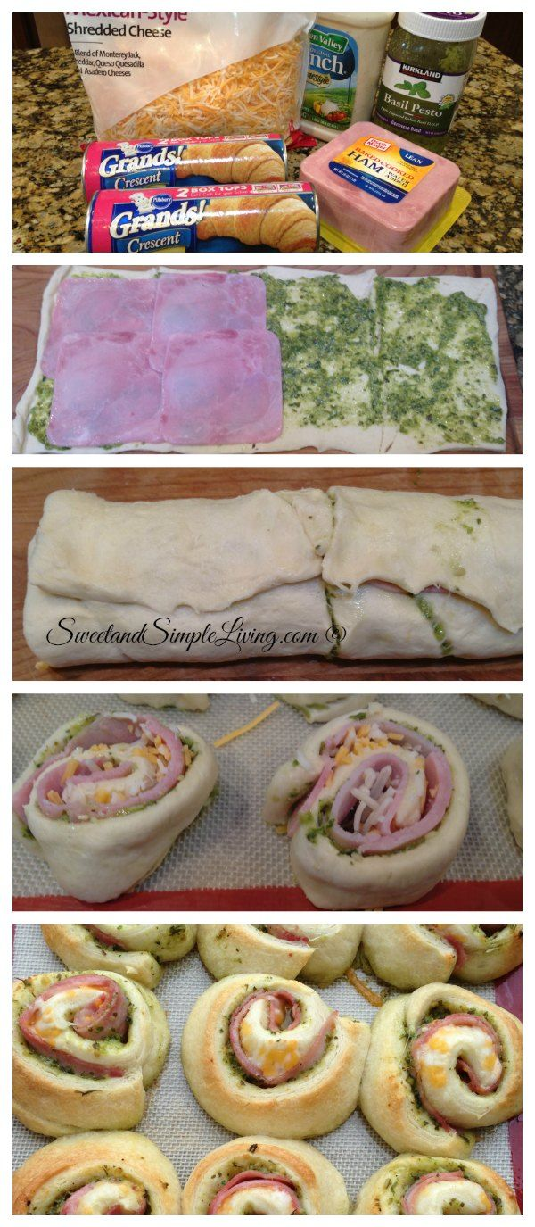 Ham and Cheese Pinwheels Recipe!!  I made some with pesto and some with ranch dressing!  Both came out amazing!   Perfect appetizer or quick meal you can whip up on a weeknight!  I love easy recipes!!!  |  SweetandSimpleLiving.com