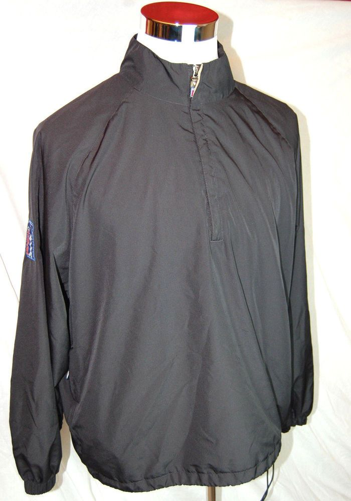 PGA Tour Golf Windbreaker Size Large Mens 1/4 Zip Black Adjustable Waist  #PGATour