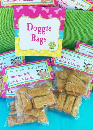 Doggie bag treats at a Dog and Cat birthday party!  See more party ideas at CatchMyParty.com!