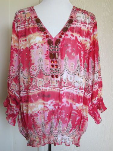 Marc Bouwer Plus Size 3X Pink Sheer Embellished Tunic Top 3 4 Sleeves | eBay
