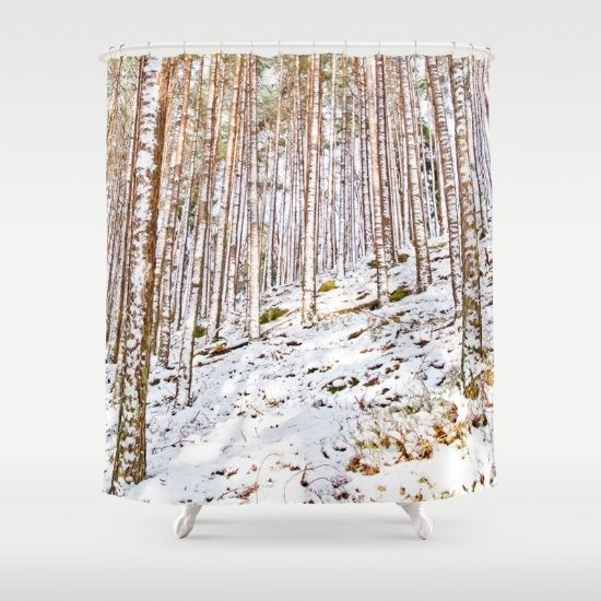 Pines in the snow Shower Curtain