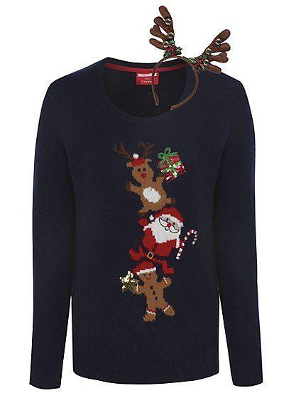 Cute Christmas Jumpers - Christmas Jumper with Reindeer Headband | Women | George at ASDA