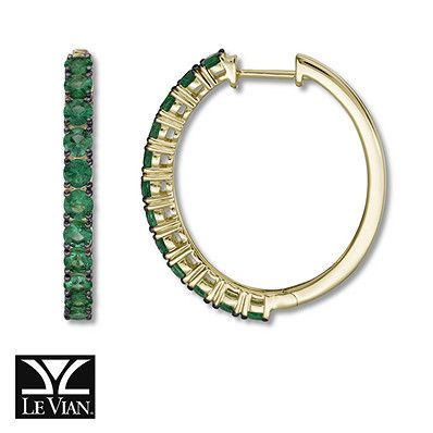 Natural emeralds lend refreshing color to these beautiful 14K Honey Gold™ hoop earrings for her from Le Vian®. The earrings secure with hinged backs. Le Vian®. Discover the Legend.  Emerald is usually subject to an enhancement process such as fissure penetration by colorless wax, oil or resin, which may not be permanent and may require special care. Gently clean by rinsing in warm water and drying with a soft cloth. Avoid sudden termperature change...