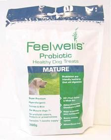 Feelwells Probiotic Healthy Mature Dog Treats Feelwells Probiotic Healthy Mature Dog Treats are highly palatable totally natural hypo-allergenic and wheat-gluten free. These dog treats are suitable for all mature dogs over 7 and large breeds http://www.comparestoreprices.co.uk/dog-health/feelwells-probiotic-healthy-mature-dog-treats.asp
