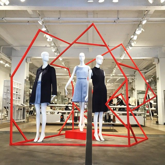 """JOHN JEFFREY,NYC, """"ORANGE is the new BLACK,geometry was a challenge"""", (PRADA), display by John Galang, pinned by Ton van der Veer"""