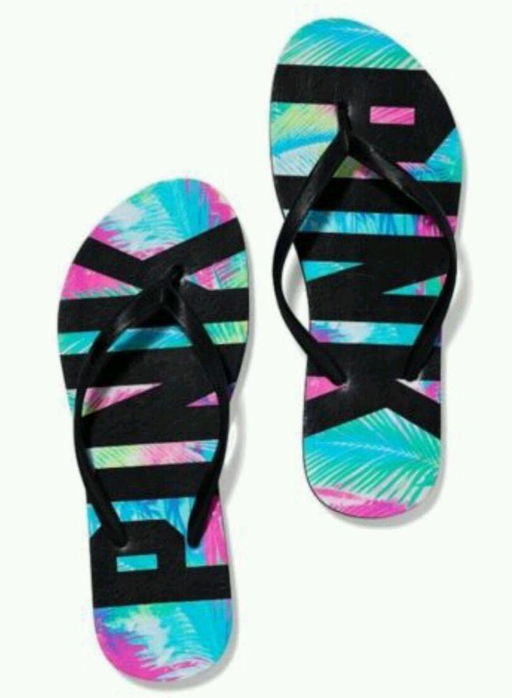 Victoria's Secret PINK Flip Flops Size Small (5/6) Tropical Palms Print NWT #VictoriasSecret #FlipFlops