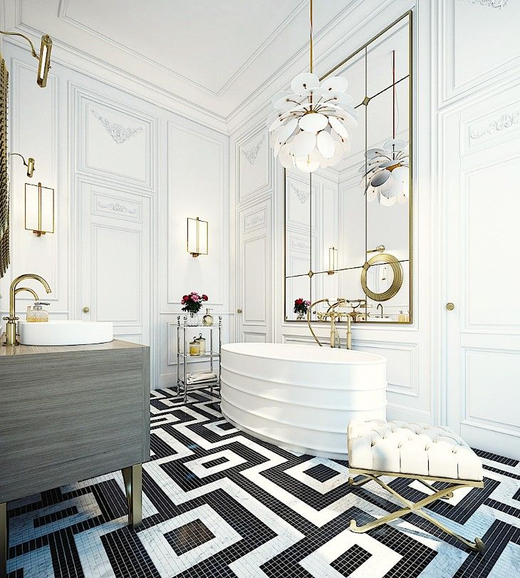 chic French  lend of traditional architectural details with modern lighting, vanity, tub and  geometrical tile