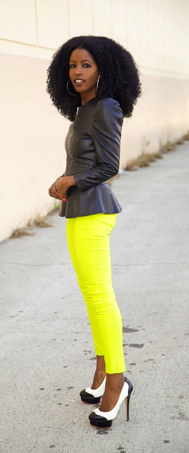 Leather Jacket + Peplum Blouse + Neon Jeans / StylePantry