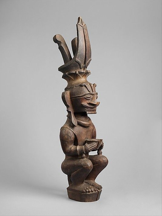 Ancestor Figure (Siraha Salawa or Siraha Nomo)    Date:      19th–early 20th century  Geography:      Indonesia, Nias Island  Culture:      Ono Niha people  Medium:      Wood  Dimensions:      H. 25 x W. 6 1/4 x D. 6 in. (63.5 x 15.9 x 15.2 cm)  Classification:      Wood-Sculpture
