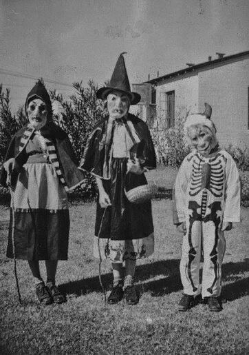 Vintage Halloween photo, children in costume