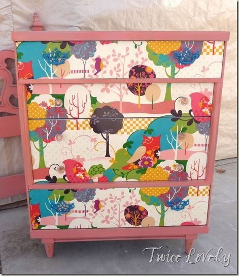 Maybe can be done with plastic dressers, fabric and contact paper.