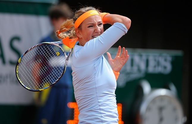 PARIS:  In a 1st-round contest postponed until the next day due to the rain, the 4th day after Roland Garros officially started, Vika Azarenka beat Elena Vesnina 6-1, 6-4 in 78 minutes. It was here, 2009 that Vika & Elena were runners-up in the doubles Championship. In their 4 previous meetings Elena had never taken a set off Vika. Sara Errani, 2012 Runner-Up, defeated Yulia Putinseva 6-1, 6-1. Maria Kirilenko, Sveta Kuznetsova, & Sabine Lisicki also advanced. 5/29/13