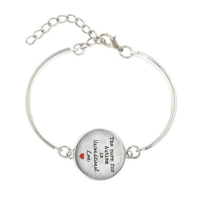 The cure for Autism is unconditional Love- Glass Dome Lace Charm Bracelet