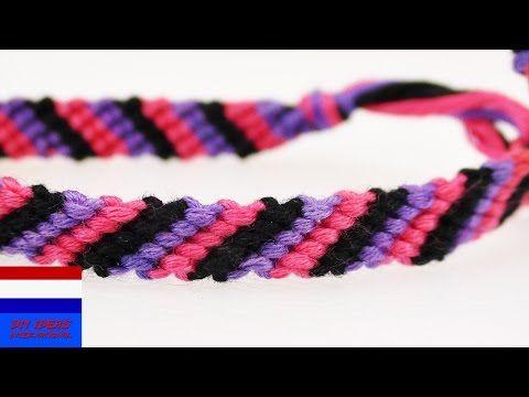 vriendschapsarmbandje knopen | zelf armbanden leren maken met strepen - YouTube