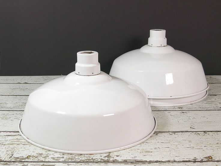 White Industrial Warehouse Pendant Light Shades - Three Vintage Metal Pendant Light Shades - Large Industrial Factory Salvage Lampshades by EightMileVintage on Etsy