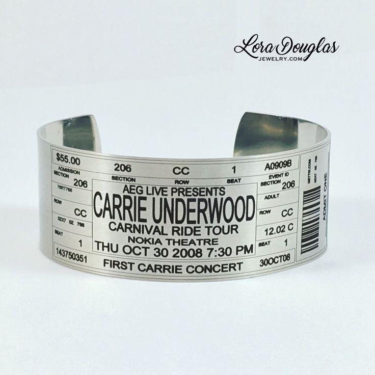 Carrie Underwood Concert Ticket Cuff Bracelet #Jewelry #handmadejewelry #carrieunderwood #etsy #etsyjewelry #carrieunderwoodconcert #fashionjewelry #fashion #concert #livemusic #concerts #music #carnivalridetour #nokiatheatre #countrygirl #countrymusic