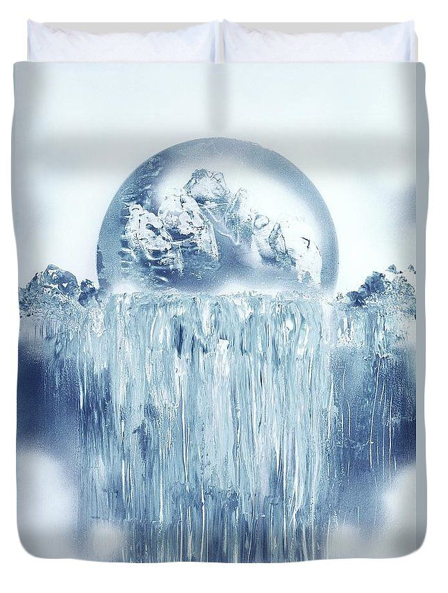 Ice Waterfall Duvet Cover Printed with Fine Art spray painting image Ice Waterfall Nandor Molnar (When you visit the Shop, change the size, background color and image size as you wish)