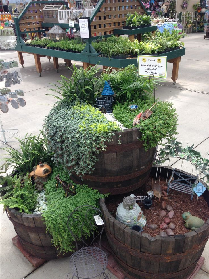 Fairy Garden Barrels   Use Empty Plastic Containers Or Other Light Weight  Items To