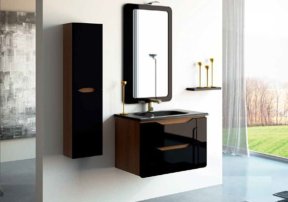 Primero Walnut and Gloss Black Vanity Unit