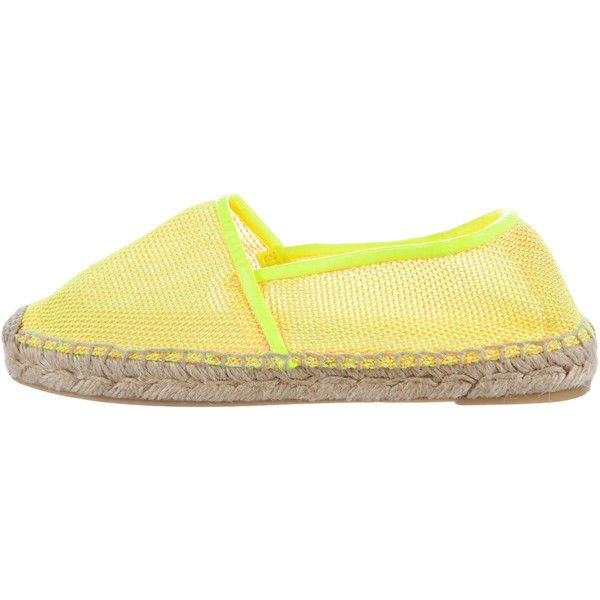 Pre-owned Stella McCartney Neon Espadrille Flats (£75) ❤ liked on Polyvore featuring shoes, flats, yellow, yellow espadrilles, yellow flats, neon flats, flat shoes and espadrille shoes