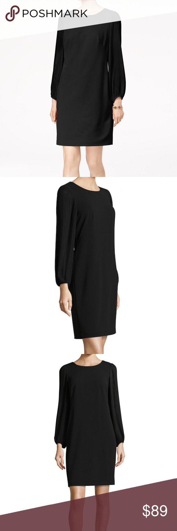 "Donna Ricco Pleated Long Sleeve Shift LBD Cocktail MSRP: $178  Size: 6 Color: Black  Shift silhouette keeps the look classic and suitable for day or night * Crewneck * Micro-pleated blouson sleeve * Even hem * Tonal topstitching and panel seaming * Back zipper closure  NWT; no flaws Body: 95% poly 5% Spandex Combo/lining: 100% poly Hand wash  Measures flat approx: Length 38"" Chest 18.5"" Waist 17.5"" Hips 19.5""  Offers warmly accepted - If we can't reach your offer, we'll send you the lowest…"