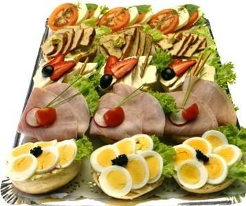 Smørrebrød platter - open-faced sandwiches.